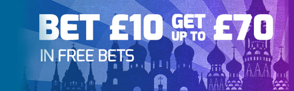 Win up to £70 Free Bets With Betfred World Cup New Player Offer